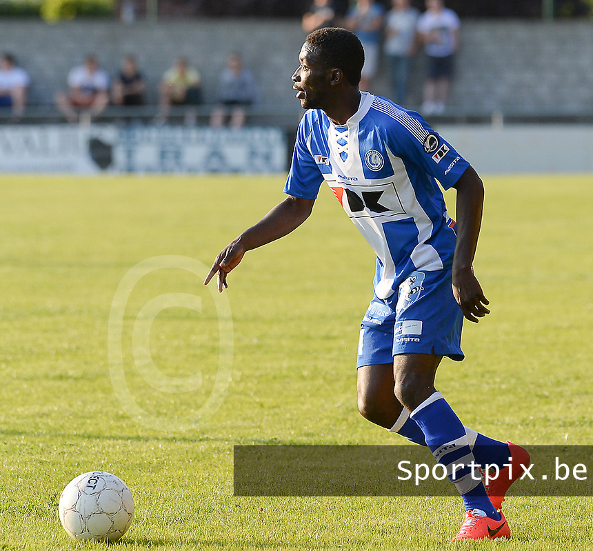 20140626 - LAUWE, BELGIUM : Gent Nana Asare pictured during  a friendly match between FC Gullegem and Belgian first division soccer team KAA Gent, the second match for KAA Gent of the preparations for the 2014-2015 season, Tuesday 24 June 2014 in Lauwe. PHOTO DAVID CATRY