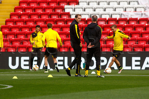 13.04.2016. Anfield, Liverpool, England. Europa League. Liverpool versus Borussia Dortmund Pre Match Press Conference and Training. Borussia Dortmund coach Thomas Tuchel watches his  players training at Anfield ahead of tomorrow night's second of the Europa Cup quarter final versus Liverpool.