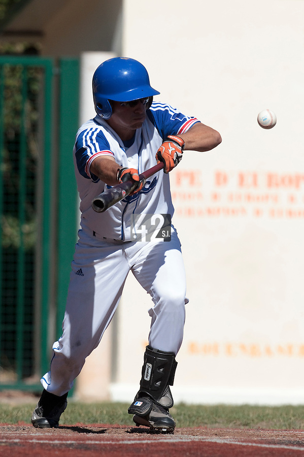 18 July 2010: Romain Scott Martinez of Team France is seen at bat during day 6 of the Open de Rouen, an international tournament with Team France, Team Saint Martin, Team All Star Elite, at Stade Pierre Rolland, in Rouen, France.
