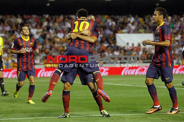 FC Barcelona's Pedro Rodriguez, Leo Messi, Cesc Fabregas and Neymar Santos Jr celebrate goal during La Liga match.September 1,2013. Foto © nph / Acero)