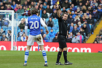 (L-R) Adam Reach of Sheffield Wednesday sees a yellow card by referee Paul Tierney during The Emirates FA Cup Fifth Round match between Sheffield Wednesday and Swansea City at Hillsborough, Sheffield, England, UK. Saturday 17 February 2018