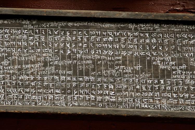 Chaclk and blackboard Nepalese calendar.