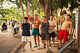 VIETNAM, Hanoi, men lifting weights and exercising early in the morning, Hoan Kiem Lake