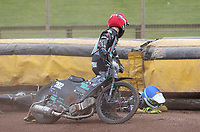 Heat 14: Alfie Bowtell (red) and Nick Laurence (blue) crash<br /> <br /> Photographer Rob Newell/CameraSport<br /> <br /> National League Speedway - Lakeside Hammers v Eastbourne Eagles - Lee Richardson Memorial Trophy, First Leg - Friday 14th April 2017 - The Arena Essex Raceway - Thurrock, Essex<br /> &copy; CameraSport - 43 Linden Ave. Countesthorpe. Leicester. England. LE8 5PG - Tel: +44 (0) 116 277 4147 - admin@camerasport.com - www.camerasport.com