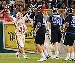 April 27, 2012:  #16 Denver's, Jeremy Noble (45) celebrates a goal against #4 Duke during the Whitman's Sampler Mile High Classic, Sports Authority Field at Mile High, Denver, CO.  #16 Denver defeats #4 Duke 15-9.
