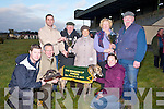 KINGDOM: Declan Connolly presented  the Kingdom Cup to Marie Field owner of the winning dog KYLE BASIL, on Sunday At Ballybeggan Coursing on Sunday, sponsored by Lee Strand and Slieve Mish Bar, Boherbee Tralee. L-r: Ciaran O.Brien, Michael Fie;ld, Declan Connolly, Liam Brassil, Marie Field, Ena Galvin, Elaine Field andPaudie Lynch(Trainer). ........ . ............................... ..........