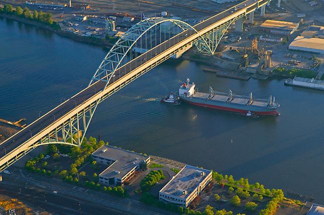 Freighter passing under N. Freemont Bridge