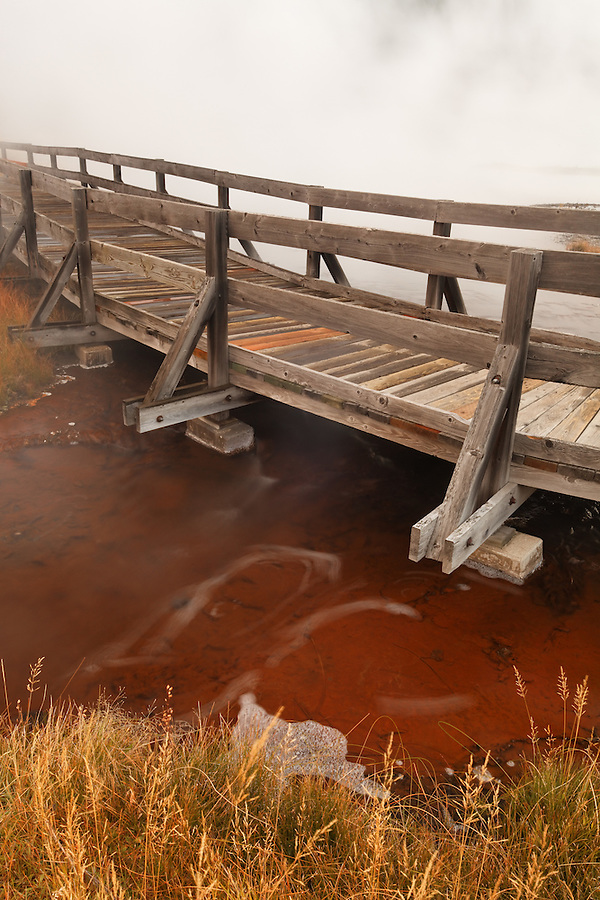 Wooden walkway over Firehole Lake, Firehole Lake Drive, Yellowstone National Park, Wyoming, USA