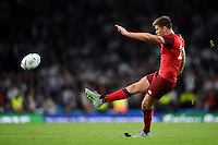 Owen Farrell of England kicks for the posts. Rugby World Cup Pool A match between England and Fiji on September 18, 2015 at Twickenham Stadium in London, England. Photo by: Patrick Khachfe / Onside Images