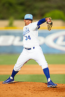 Burlington Royals pitcher Andres Machado (34) in action against the Greeneville Astros at Burlington Athletic Park on June 29, 2014 in Burlington, North Carolina.  The Royals defeated the Astros 11-0. (Brian Westerholt/Four Seam Images)