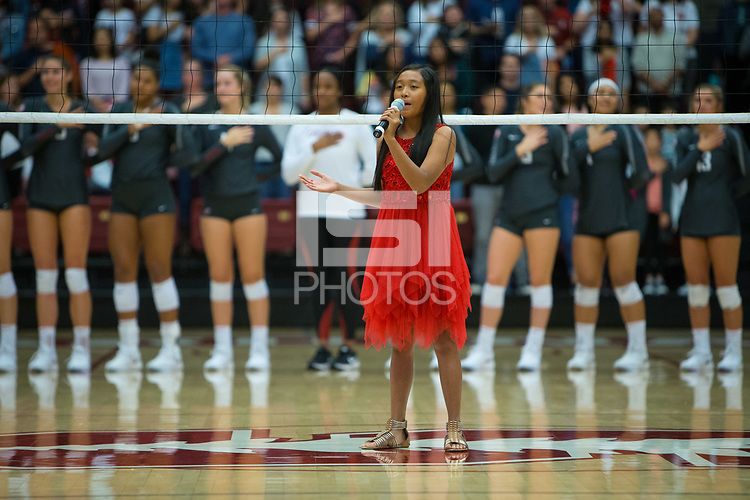 STANFORD, CA - October 12, 2018: Venice Barbiran at Maples Pavilion. No. 2 Stanford Cardinal swept No. 21 Washington State Cougars, 25-15, 30-28, 25-12.