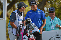 Hideki Matsuyama (JPN) bursts into laughter at his caddie's reaction after he faked pushing him over the ledge on the elevated tee on 12 during day 1 of the WGC Dell Match Play, at the Austin Country Club, Austin, Texas, USA. 3/27/2019.<br /> Picture: Golffile | Ken Murray<br /> <br /> <br /> All photo usage must carry mandatory copyright credit (&copy; Golffile | Ken Murray)
