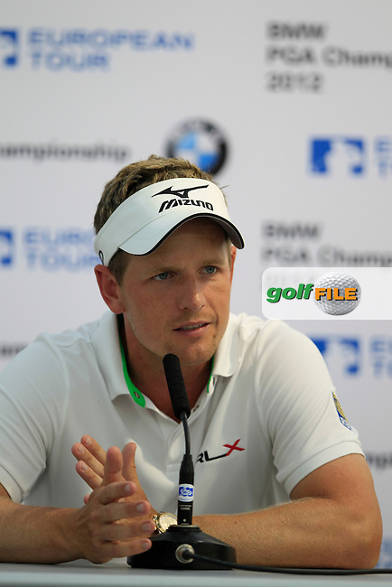 Luke Donald (ENG) speaking to the media after the third round of the BMW PGA CHAMPIONSHIP, Wentworth Club,Surrey,England. 26/5/12.Picture  Fran Caffrey www.golffile.ie..
