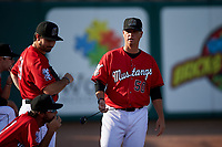 Billings Mustangs pitching coach Derrin Ebert (50) before a Pioneer League game against the Grand Junction Rockies at Dehler Park on August 15, 2019 in Billings, Montana. Billings defeated Grand Junction 11-2. (Zachary Lucy/Four Seam Images)
