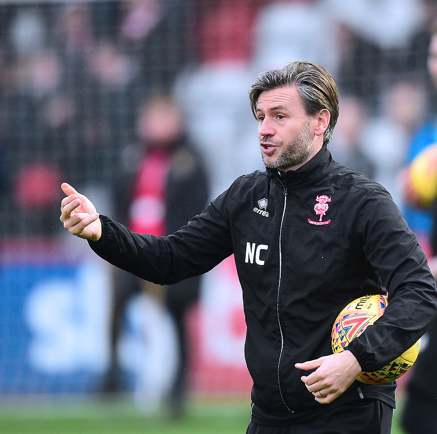 Lincoln City's assistant manager Nicky Cowley during the pre-match warm-up<br /> <br /> Photographer Andrew Vaughan/CameraSport<br /> <br /> The EFL Sky Bet League Two - Stevenage v Lincoln City - Saturday 8th December 2018 - The Lamex Stadium - Stevenage<br /> <br /> World Copyright © 2018 CameraSport. All rights reserved. 43 Linden Ave. Countesthorpe. Leicester. England. LE8 5PG - Tel: +44 (0) 116 277 4147 - admin@camerasport.com - www.camerasport.com