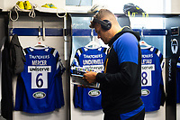 Zach Mercer of Bath Rugby reads the matchday programme in the changing rooms. Gallagher Premiership match, between Bath Rugby and Gloucester Rugby on September 8, 2018 at the Recreation Ground in Bath, England. Photo by: Patrick Khachfe / Onside Images