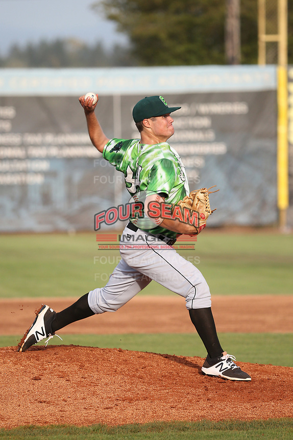Brendon Little (34) of the Eugene Emeralds pitches against the Salem-Keizer Volcanoes at Volcanoes Stadium on July 24, 2017 in Keizer, Oregon. Eugene defeated Salem-Keizer, 7-6. (Larry Goren/Four Seam Images)