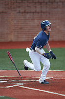 Carson Simpson (3) of the Wingate Bulldogs starts down the first base line against the Concord Mountain Lions at Ron Christopher Stadium on February 1, 2020 in Wingate, North Carolina. The Bulldogs defeated the Mountain Lions 8-0 in game one of a doubleheader. (Brian Westerholt/Four Seam Images)