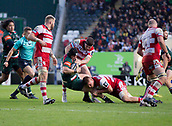 4th November 2017, Welford Road, Leicester, England; Anglo-Welsh Cup, Leicester Tigers versus Gloucester;  Charlie Thacker on the charge for Leicester Tigers