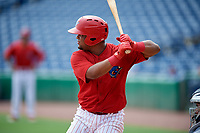 Clearwater Threshers first baseman Wilson Garcia (10) at bat during the first game of a doubleheader against the Lakeland Flying Tigers on June 14, 2017 at Spectrum Field in Clearwater, Florida.  Lakeland defeated Clearwater 5-1.  (Mike Janes/Four Seam Images)