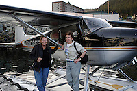 Photographer Melissa Farlow and Writer Nan Elliott, after a flight over the Southeast on assignment for National Geographic.