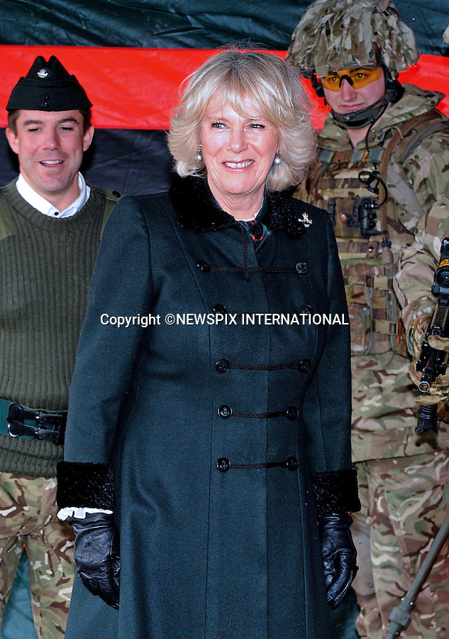 """29.01.2013,Bulford Camp, UK: CAMILLA, DUCHESS OF CORNWALL.Royal Colonel, 4th Battalion, The Rifles, visited the Battalion during its pre-deployment training. .She watched some mission-specific training, opened the Officers' Mess and joined soldiers and their families at a reception at Bulford Camp, Wiltshire..Mandatory Credit Photo: ©R Watt/NEWSPIX INTERNATIONAL..**ALL FEES PAYABLE TO: """"NEWSPIX INTERNATIONAL""""**..IMMEDIATE CONFIRMATION OF USAGE REQUIRED:.Newspix International, 31 Chinnery Hill, Bishop's Stortford, ENGLAND CM23 3PS.Tel:+441279 324672  ; Fax: +441279656877.Mobile:  07775681153.e-mail: info@newspixinternational.co.uk"""