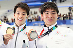 (L-R) <br />  Daiya Seto, <br />  Nao Horomura (JPN), <br /> AUGUST 19, 2018 - Swimming : <br /> Men's 200m Butterfly Medal Ceremony <br /> at Gelora Bung Karno Aquatic Center <br /> during the 2018 Jakarta Palembang Asian Games <br /> in Jakarta, Indonesia. <br /> (Photo by Naoki Nishimura/AFLO SPORT)