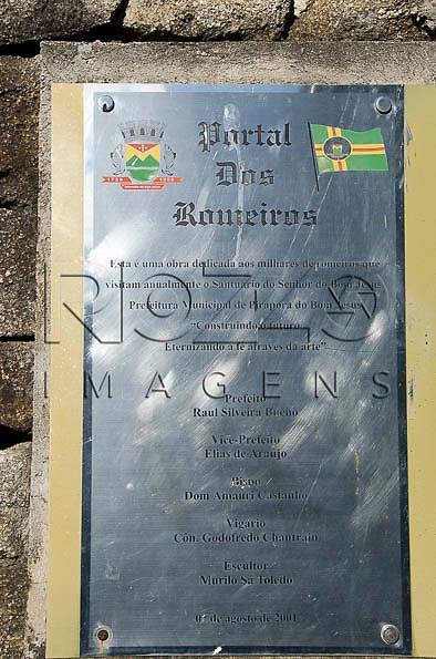 Placa do Portal dos Romeiros, Pirapora do Bom Jesus - SP, 04/2014. cidade situada na margem do Rio Tietê poluido - área metropolitana de São Paulo.