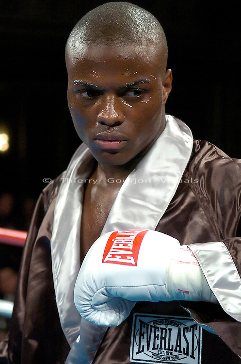 Peter Quillin in the ring before his  Middleweight 4 rounds fight   against Tomas Padron at the Hammerstein ballroom in New York, NY on 04.20.06. Peter Quinllin won by UD..