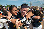 30 MAY 2016: University of Texas-Tyler players celebrate after winning the Division III Women's Softball Championship held at the James I Moyer Sports Complex in Salem, VA.  University of Texas-Tyler defeated Messiah College 7-0 for the national title. Don Petersen/NCAA Photos