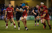Bath Rugby's Zach Mercer in action during todays match<br /> <br /> Photographer Bob Bradford/CameraSport<br /> <br /> European Champions Cup Round 5 - Bath Rugby v Scarlets - Friday 12th January 2018 - The Recreation Ground - Bath<br /> <br /> World Copyright &copy; 2018 CameraSport. All rights reserved. 43 Linden Ave. Countesthorpe. Leicester. England. LE8 5PG - Tel: +44 (0) 116 277 4147 - admin@camerasport.com - www.camerasport.com