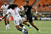 3rd February 2019, Spotless Stadium, Sydney, Australia; HSBC Sydney Rugby Sevens; New Zealand versus USA; Mens Final; Regan Ware of New Zealand runs towards the try line to score
