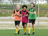 20180306 - LARNACA , CYPRUS :  Belgian Charlotte Tison , Kassandra Missipo and Silke Vanwynsberghe (r) pictured during a Matchday -1 training from The Belgian Red Flames prior to their game against South Africa , on tuesday 6 March 2018 at the Alpha Sports Grounds in Larnaca , Cyprus . This will be the final game for Belgium during the Cyprus Womens Cup for a battle for the 5th place , a prestigious women soccer tournament as a preparation on the World Cup 2019 qualification duels. PHOTO SPORTPIX.BE | DAVID CATRY