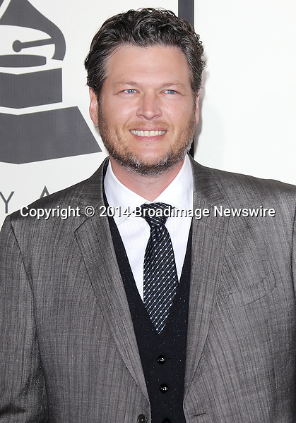 Pictured: Blake Shelton<br /> Mandatory Credit &copy; Frederick Taylor/Broadimage<br /> 56th Annual Grammy Awards - Red Carpet<br /> <br /> 1/26/14, Los Angeles, California, United States of America<br /> <br /> Broadimage Newswire<br /> Los Angeles 1+  (310) 301-1027<br /> New York      1+  (646) 827-9134<br /> sales@broadimage.com<br /> http://www.broadimage.com