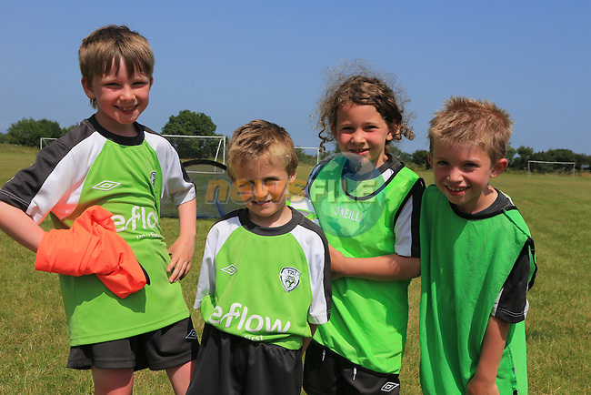 Enda, O'Carroll, Daniel Bacon,  Isobel Horgan and Luke Walsh<br /> at the East Meath United FAI Summer Camp.<br /> Picture:  www.newsfile.ie