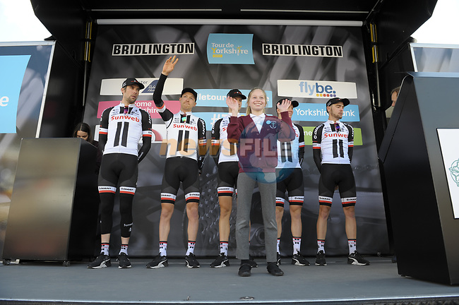 Team Sunweb at sign on before the start of Stage 1 of the Tour de Yorkshire 2017 running 174km from Bridlington to Scarborough, England. 28th April 2017. <br /> Picture: ASO/P.Ballet | Cyclefile<br /> <br /> <br /> All photos usage must carry mandatory copyright credit (&copy; Cyclefile | ASO/P.Ballet)