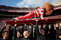 Brutus the Buckeye does push-ups as Ohio State ROTC members hold him up during the fourth quarter of a NCAA college football game between the Ohio State Buckeyes and the Nebraska Cornhuskers on Saturday, November 3, 2018 at Ohio Stadium in Columbus, Ohio. [Joshua A. Bickel/Dispatch]