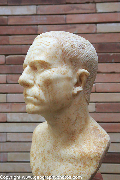 Bust of elderly man, Museo Nacional de Arte Romano, national museum of Roman art, Merida, Extremadura, Spain 1st century AD