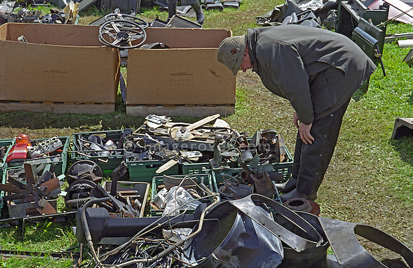 Searching for rare Land Rover parts at the 1998 Series 1 Club event at a Land Rover enthusiasts show, UK 1999. --- No releases available. Automotive trademarks are the property of the trademark holder, authorization may be needed for some uses.