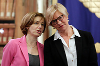 Ministri della Difesa francese e Italiano Florence Parly e Roberta Pinotti, french and Italian Ministers of Defense <br /> Roma 01/02/2018. Incontro di lavoro sul progetto di cooperazione industriale nel settore navale militare (Fincantieri Naval Group).<br /> Rome February1st 2018. Meeting on the project of cooperation between Italy and France in the naval- military sector (Fincantieri and Naval Group).<br /> Foto Samantha Zucchi Insidefoto