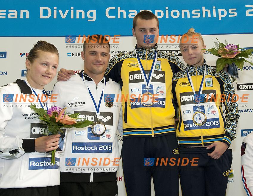 podium team event<br /> silver KLEIN-PUNZEL GER, gold BONDAR-PROKOPCHUK UKR, <br /> Arena European Diving Championships<br /> 18/6/2013  Rostock GER Germany<br /> Day 01Team Event<br /> Photo G. Scala/Inside/deepbluemedia.eu