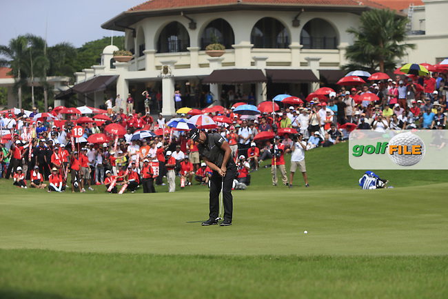 Ryan Moore (USA) on the 18th green puts to win the CIMB Classic in the Kuala Lumpur Golf &amp; Country Club on Sunday 2nd November 2014.<br /> Picture:  Thos Caffrey / www.golffile.ie
