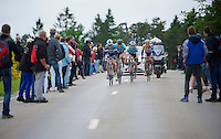 Tom Boonen (BEL) part of an elite group (of teammates) on th ehighest part of the track with up to 3 minutes out of the peloton<br /> <br /> Belgian Championchips 2013