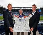 """The Bear Hunter"" John Irwin at Ibrox with Mark Hateley and Richard Gough and his shirt with all the signatures of Rangers nine in a row players"