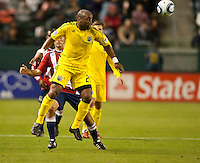 CARSON, CA – APRIL 9, 2011: Columbus Crew forward Emilio Renteria (20) heads the ball during the match between Chivas USA and Columbus Crew at the Home Depot Center, April 9, 2011 in Carson, California. Final score Chivas USA 0, Columbus Crew 0.