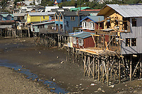 Chiloe, the archipelago to the south of Chile's lake district, is a largely rural backwater. This is one of the few places where you can still see palafitos, the picturesque traditional stilt houses built on beaches and estuaries. The palafitos pictured here are in the capital of Chiloe, Castro, where the greatest concentration of them is to be found.