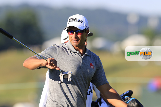 Adam Scott (AUS) on the 18th green during Friday's Round 2 of the 2016 U.S. Open Championship held at Oakmont Country Club, Oakmont, Pittsburgh, Pennsylvania, United States of America. 17th June 2016.<br /> Picture: Eoin Clarke | Golffile<br /> <br /> <br /> All photos usage must carry mandatory copyright credit (&copy; Golffile | Eoin Clarke)