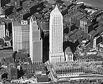 Pittsburgh PA:  View of the new Gulf Building, Koppers Building and construction of the Post Office & Federal Courts bulding - 1932