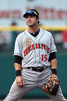 Indianapolis Indians third baseman Chase d'Arnaud (15) during a game against the Rochester Red Wings on July 26, 2014 at Frontier Field in Rochester, New  York.  Rochester defeated Indianapolis 1-0.  (Mike Janes/Four Seam Images)
