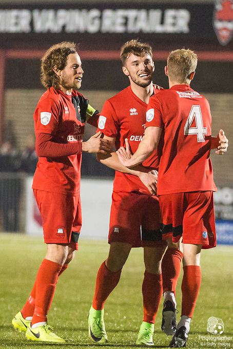 Lloyd Dawes (Eastbourne) celebrates his goal putting Borough into the lead during Parafix Sussex Senior Cup Quarter Final between Eastbourne Borough FC & Crawley Town FC on Tuesday 09 January 2018 at Priory Lane. Photo by Jane Stokes (DJ Stotty Images)